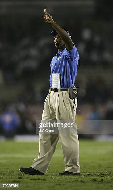 Bruins head coach Karl Dorrell gestures during the Bruins 310 win over the Stanford Cardinal on September 30 2006 at the Rose Bowl in Pasadena...