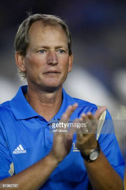 Bruins head coach Rick Neuheisel looks on from the sideline against the Kansas State Wildcats at the Rose Bowl on September 19, 2009 in Pasadena,...