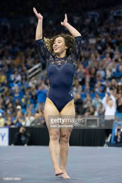 Bruins' Katelyn Ohashi competes on floor during an NCAA college gymnastics meet against Arizona State Sun Devils in Los Angeles Monday Jan 21 2019