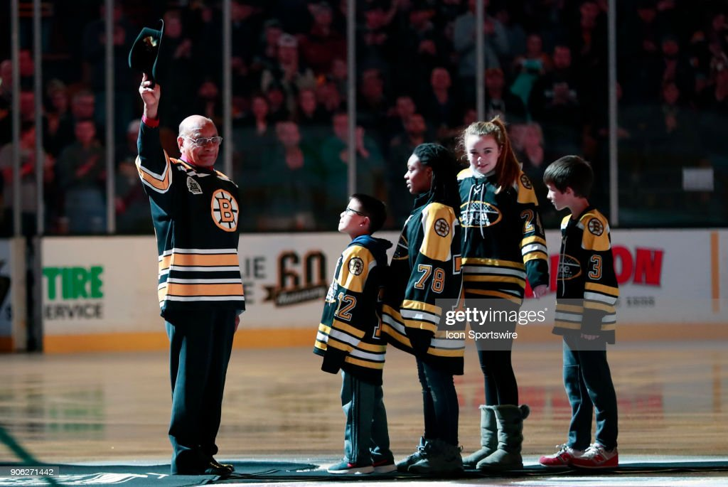 Bruins legend Willie O'Ree honored before a game between the Boston Bruins and the Montreal Canadiens on January 17, 2018, at TD Garden in Boston, Massachusetts. The Bruins defeated the Canadiens 4-1.