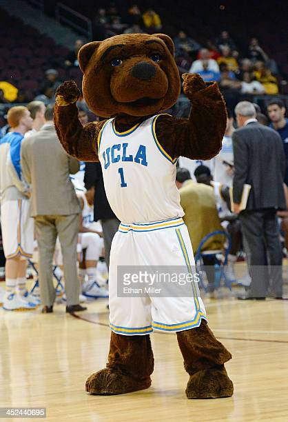 Bruins mascot Joe Bruin performs during the team's game against the Nevada Wolf Pack during the Continental Tire Las Vegas Invitational at the...