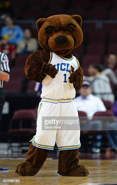 Bruins mascot Joe Bruin performs during the team's game against the Northwestern Wildcats during the Continental Tire Las Vegas Invitational at the...