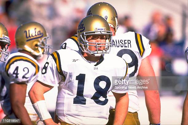 Bruins quarterback Cade Mcnown looks to the sideline for a signal for a play during a PAC10 game against the Arizona Wildcats on November 16 1996 in...