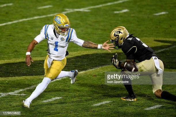 Bruins quarterback Dorian Thompson-Robinson fumbles during a PAC 12 conference game between the Colorado Buffaloes and the UCLA Bruins at Folsom...