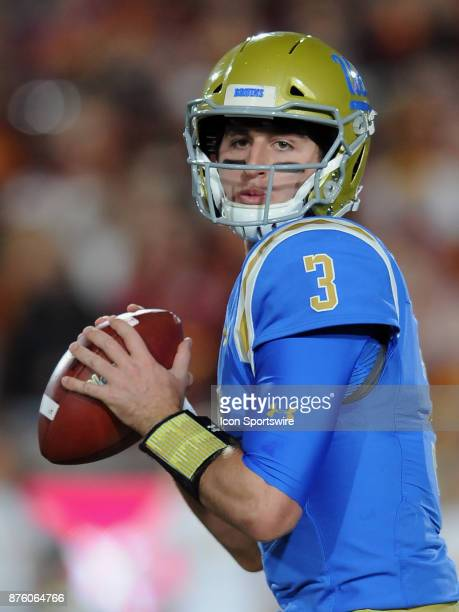 Bruins quarterback Josh Rosen back to pass during the first quarter of a game against the USC Trojans on November 18 played at the Los Angeles...
