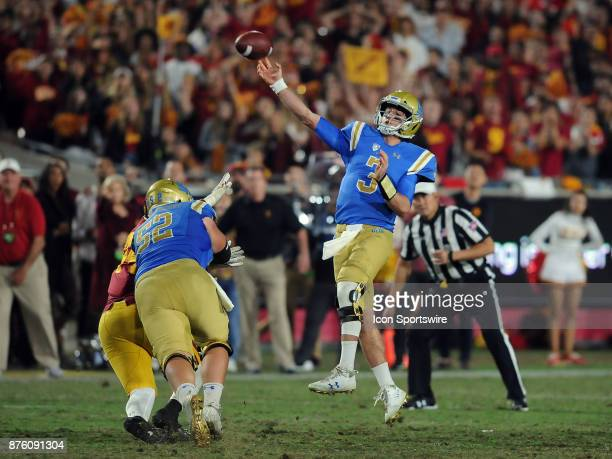 Bruins quarterback Josh Rosen throws an off balance pass in the fourth quarter of a game against the USC Trojans on November 18 played at the Los...