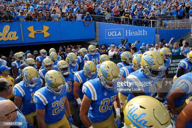 Bruins take the field during the first half of a football game at Rose Bowl on November 17 2018 in Pasadena California