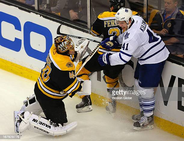 Bruins Tuukka Rask is way out of his net in the second period as he tried to swipe at a loose puck and ended up jousting with Toronto's Nikolai...
