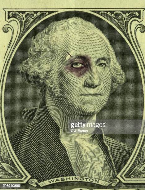 bruised one dollar bill. - black eye stock pictures, royalty-free photos & images