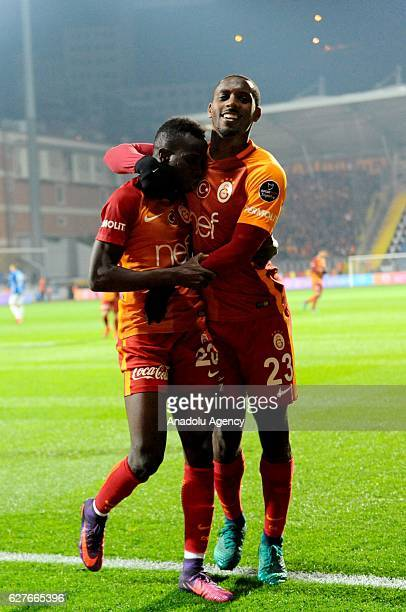 Bruma and Lionel Carole of Galatasaray celebrate after scoring a goal during the Turkish Spor Toto Super Lig football match between Kasimpasa and...