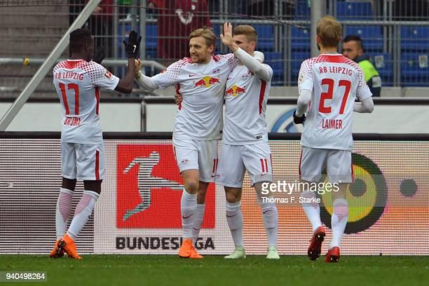 Bruma Emil Forsberg Timo Werner and Konrad Laimer of Leipzig celebrate their teams first goal during the Bundesliga match between Hannover 96 and RB...