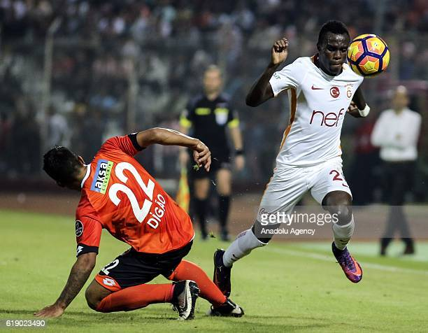 Bruma of Galatasaray in action against Digao of Adanaspor during the Turkish Spor Toto Super Lig football match between Adanaspor and Galatasaray at...
