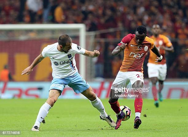 Bruma of Galatasaray in action against Mustafa Akbas of Trabzonspor during Turkish Spor Toto Super Lig match between Galatasaray and Trabzonspor at...