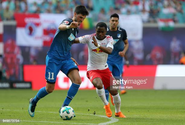 Bruma of Leipzig battles for the ball with Florian Grillitsch of Hoffenheim during the Bundesliga match between RB Leipzig and TSG 1899 Hoffenheim at...