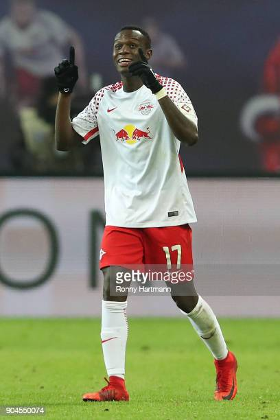 Bruma of Leipzig celebrates after he scored a goal to make it 31 during the Bundesliga match between RB Leipzig and FC Schalke 04 at Red Bull Arena...