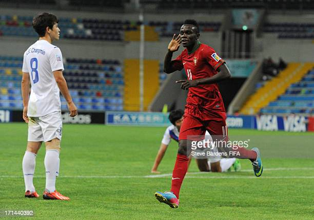 Bruma of Portugal celebrates after scoring his team's second goal during the FIFA U20 World Cup Group B match between Portugal and Korea Republic at...