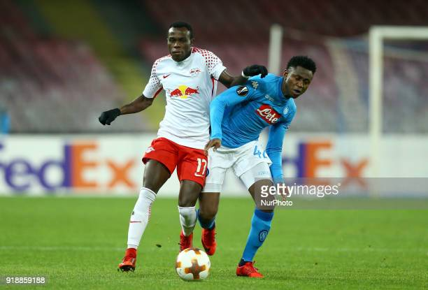 Bruma of RB Leipzig and Amadou Diawara of Napoli during UEFA Europa League Round of 32 match between Napoli and RB Leipzig at the Stadio San Paolo on...