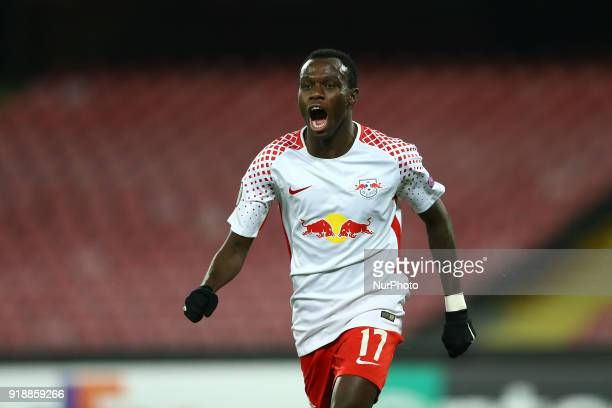 Bruma of RB Leipzig celebrates after the goal of 12 during UEFA Europa League Round of 32 match between Napoli and RB Leipzig at the Stadio San Paolo...