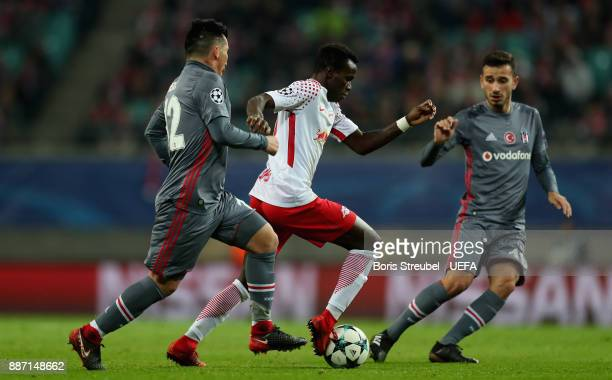 Bruma of RB Leipzig is challenged by Gary Medel of Besiktas Istanbul during the UEFA Champions League group G match between RB Leipzig and Besiktas...