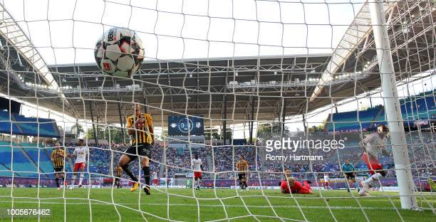 Bruma of RB Leipzig scores his team's opening goal during the UEFA Europa League Qualifying Second Round First Leg match between RB Leipzig and BK...