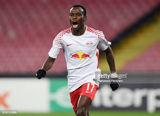 Bruma player of RB Leipzig celebrates after scoring the 12 goal during UEFA Europa League Round of 32 match between Napoli and RB Leipzig at the...