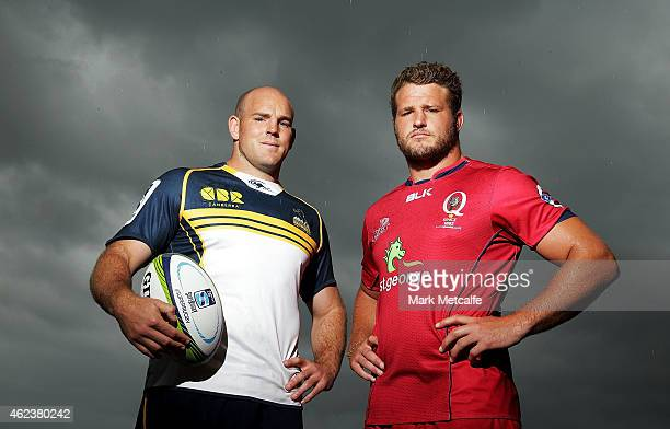 Brumbies captain Stephen Moore and Reds captain James Slipper pose during the Super Rugby 2015 season launch at Sydney Opera House on January 28 2015...