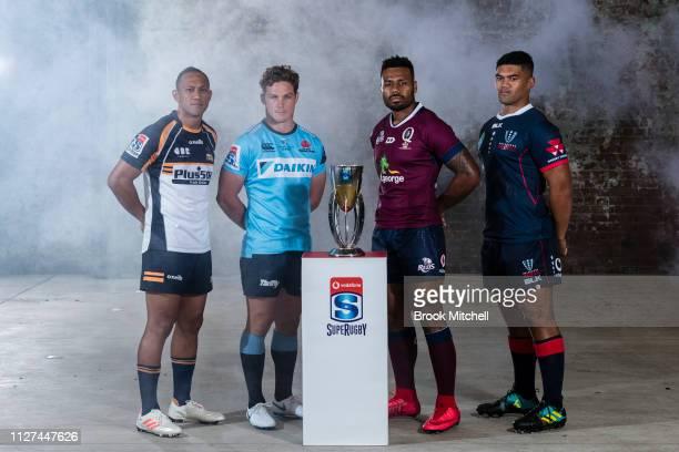 Brumbies Christian Lealiifano, NSW Waratahs Michael Hooper, Queensland Reds Samu Kerevi and Melbourne Rebels Jordan Uelese pose during the Super...