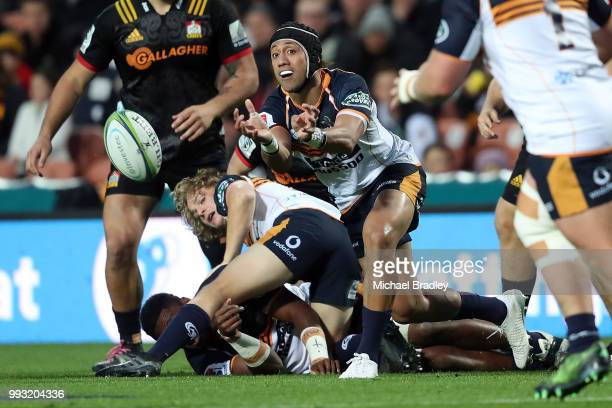 Brumbies Christian Lealiifano passes the ball from the ruck during the round 18 Super Rugby match between the Chiefs and the Brumbies at FMG Stadium...