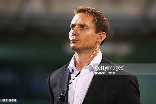 Brumbies Coach Stephen Larkham looks on during the round two Super Rugby match between the Brumbies and the Reds at GIO Stadium on February 22 2014...