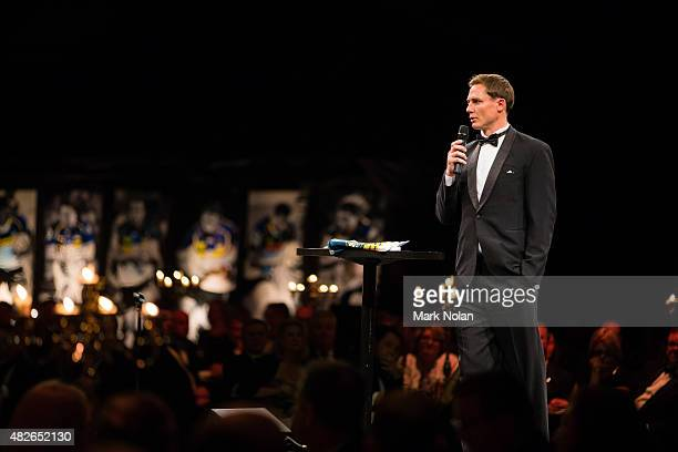 Brumbies coach Stephen Larkham makes a speach during the 2015 Brumbies Presentation Dinner at the AIS on August 1 2015 in Canberra Australia