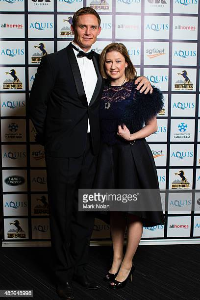 Brumbies coach Stephen Larkham on the red carpet with his partner during the 2015 Brumby Presentation Dinner at the AIS on August 1 2015 in Canberra...