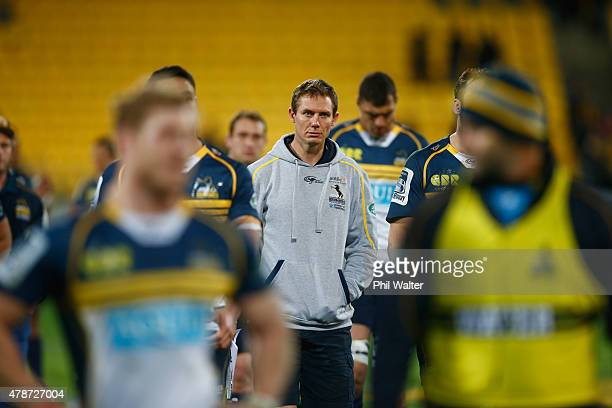 Brumbies coach Stephen Larkham walks off with his team following the Super Rugby Semi Final match between the Hurricanes and the Brumbies at Westpac...