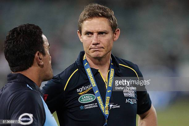 Brumbies Head Coach Stephen Larkham after the round two NRL match between the Brumbies and the Waratahs at GIO Stadium on March 4 2016 in Canberra...