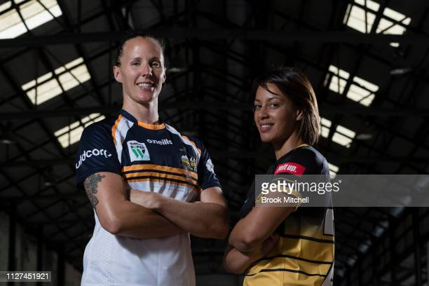 ACT Brumbies Michelle Milward and Rugby WA's Mhicca Carter pose during the Super Rugby Super W Season Launch at Carriageworks on February 05 2019 in...