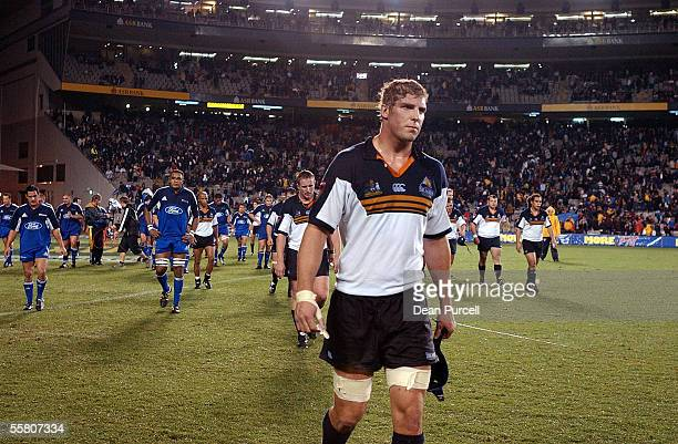Brumbies No5 Daniel Vickerman walks off the field after the Brumbies lost the Rugby Super 12 match between the Blues and the Brumbies played at Eden...