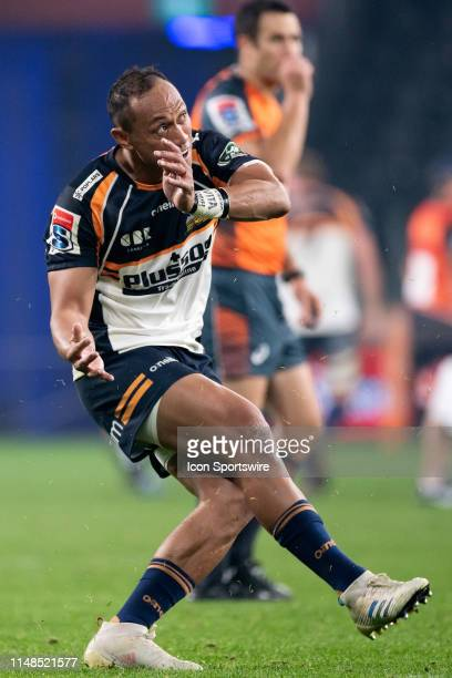 Brumbies player Christian Lealiifano kicks the ball at week 17 of Super Rugby between NSW Waratahs and Brumbies on June 08, 2019 at Western Sydney...