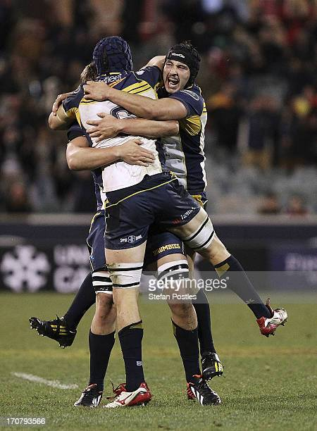 Brumbies players celebrate after winning the International tour match between the ACT Brumbies and the British Irish Lions at Canberra Stadium on...