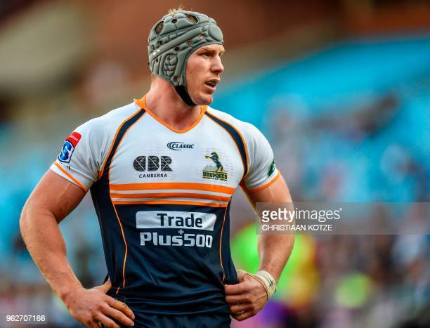 Brumbies's David Pocock stands on the pitch during the SuperRugby match between the Vodacom Bulls and ACT Brumbies on May 26, 2018 at Loftus...