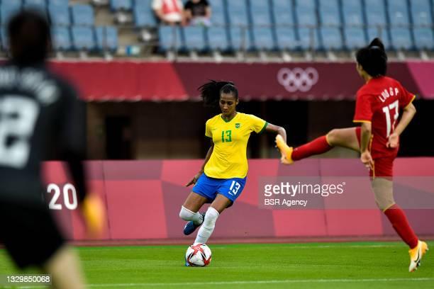 Bruna Benites of Brazil and Guiping Luo of China during the Tokyo 2020 Olympic Football Tournament match between China and Brazil at Miyagi Stadium...