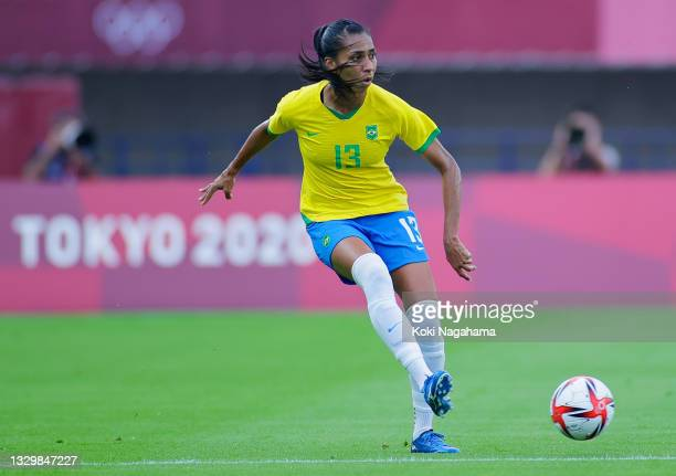 Bruna Benites of Team Brazil passes the ball during the Women's First Round Group F match between China and Brazil during the Tokyo 2020 Olympic...