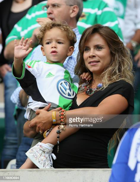 Bruna Leticia Ribas da Cunha wife of Diego of Wolfsburg prior to the Bundesliga match between VfL Wolfsburg and FC Schalke 04 at Volkswagen Arena on...