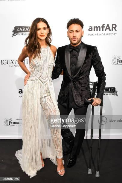 Bruna Marquezine and Neymar Jr attend the 2018 amfAR gala Sao Paulo at the home of Dinho Diniz on April 13 2018 in Sao Paulo Brazil