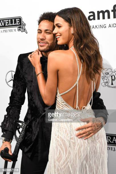 Bruna Marquezine and Neymar Jr attend the 2018 amfAR gala Sao Paulo at the home of Dinho Diniz on April 13 2018 in Sao Paulo Brazil