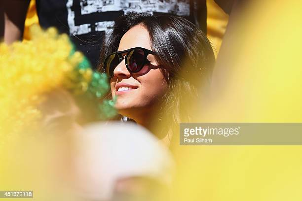 Bruna Marquezine girlfriend of Neymar of Brazil looks on prior to the 2014 FIFA World Cup Brazil round of 16 match between Brazil and Chile at...