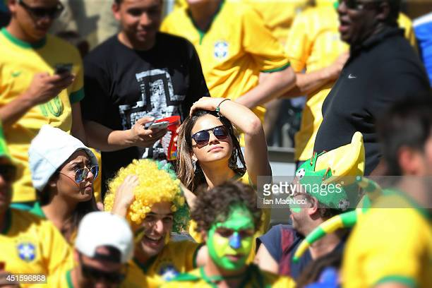 Bruna Marquezine the girlfriend of Neymar is seen in the crowd during the Round of 16 match of the 2014 World Cup between Brazil and Chile at The...