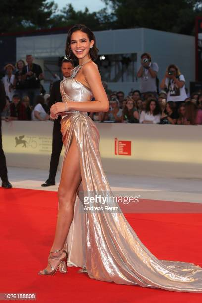 Bruna Marquezine walks the red carpet ahead of the 'The Sisters Brothers' screening during the 75th Venice Film Festival at Sala Grande on September...