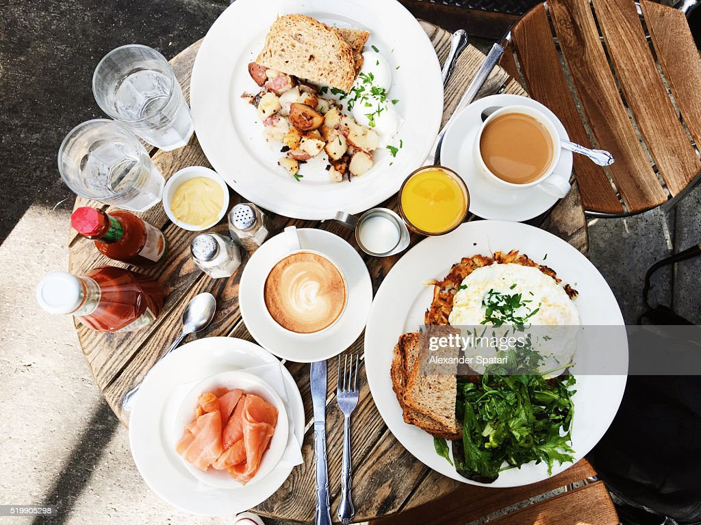 Brunch served on the table, high angle view : Stock-Foto