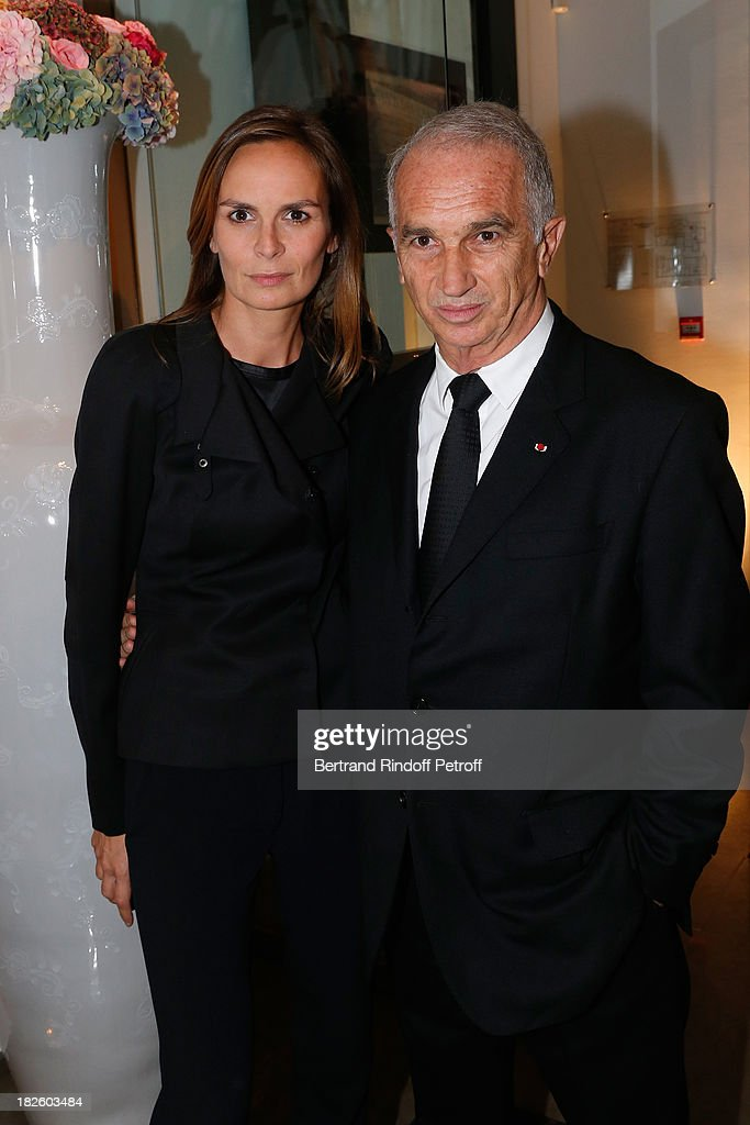 Brune de Margerie and Alain Terzian attendsthe Bulgari Party at Apicius Restaurant as part of the Paris Fashion Week Womenswear Spring/Summer 2014 on September 28, 2013 in Paris, France.