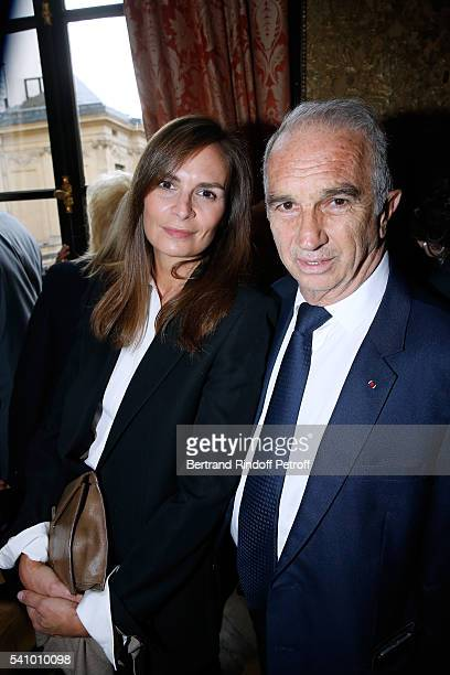 Brune de Marjorie and President of Cesar's Academy Alain Terzian attend Levon Sayan receives Insignia of 'Commandeur de l'Ordre National du Merite'...