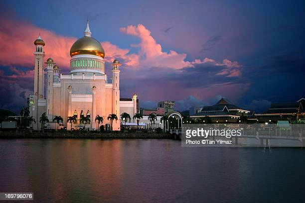brunei at dusk - bandar seri begawan stock photos and pictures